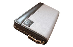Men's Canvas & Leather RFID Zipper Travel Wallet - Grey - Avallone - 4