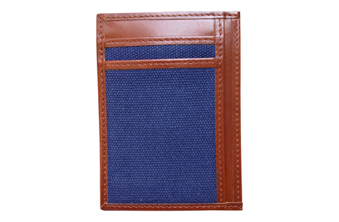 Men's Canvas & Leather Money Clip RFID Wallet - Navy Blue