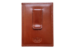 Men's Canvas & Leather Money Clip RFID Wallet - Navy Blue - Avallone - 2