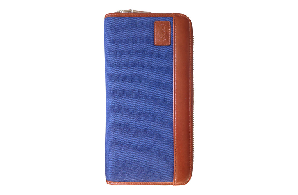 Men's Canvas & Leather RFID Zipper Travel Wallet - Navy Blue - Avallone - 1