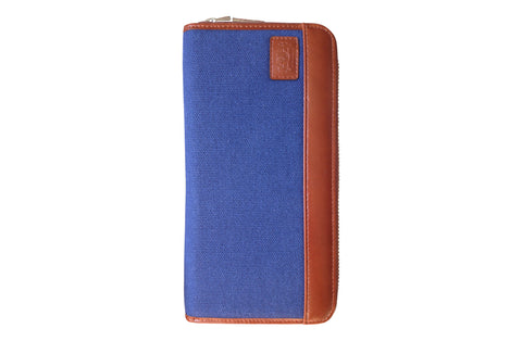 Men's Canvas & Leather RFID Zipper Travel Wallet - Navy Blue