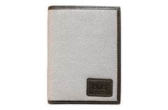 Men's Canvas & Leather Front Pocket RFID Wallet - Grey - Avallone - 2