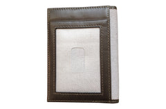 Men's Canvas & Leather Front Pocket RFID Wallet - Grey - Avallone - 3