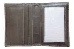 Men's Canvas & Leather Front Pocket RFID Wallet - Grey - Avallone - 4