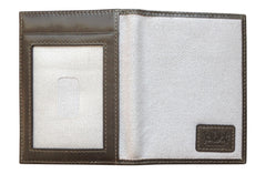 Men's Canvas & Leather Front Pocket RFID Wallet - Grey - Avallone - 5