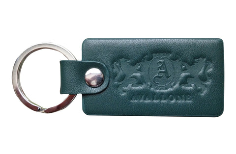Italian Leather Keychain - Forest Green