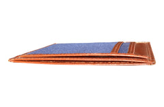 Men's Canvas & Leather Money Clip RFID Wallet - Navy Blue - Avallone - 3