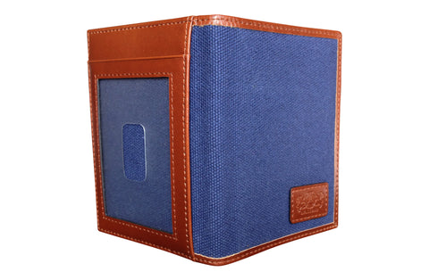 Men's Canvas & Leather Front Pocket RFID Wallet - Navy Blue