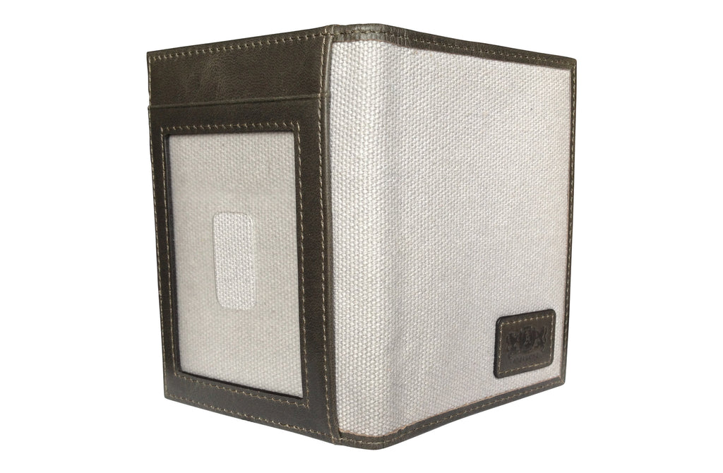 Men's Canvas & Leather Front Pocket RFID Wallet - Grey - Avallone - 1