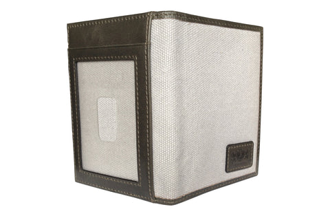 Men's Canvas & Leather Front Pocket RFID Wallet - Grey