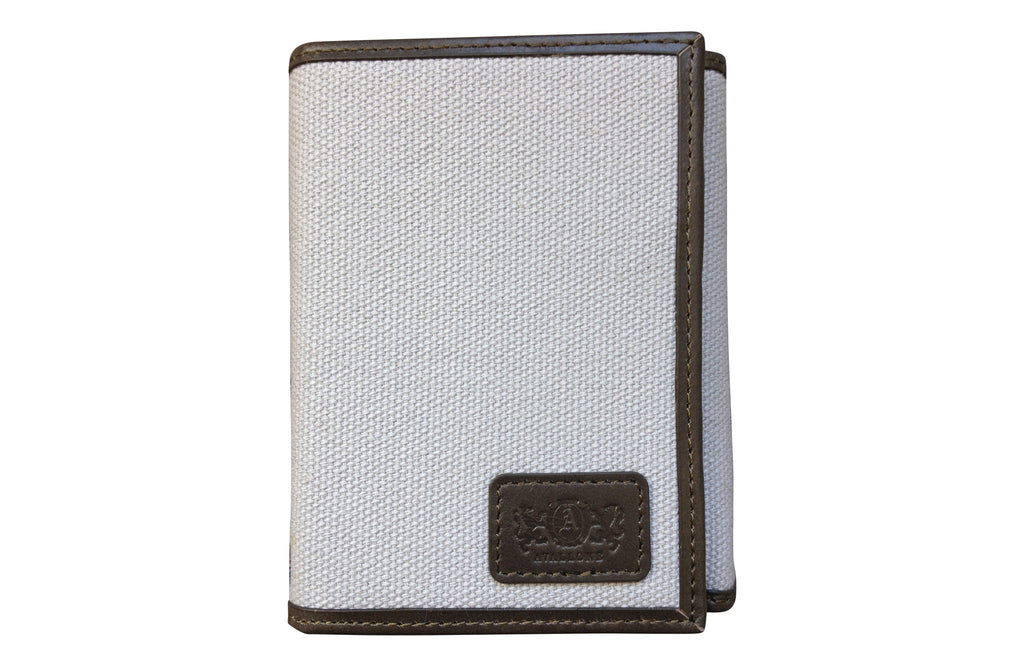 Men's Canvas & Leather Tri-Fold RFID Wallet - Grey - Avallone - 1