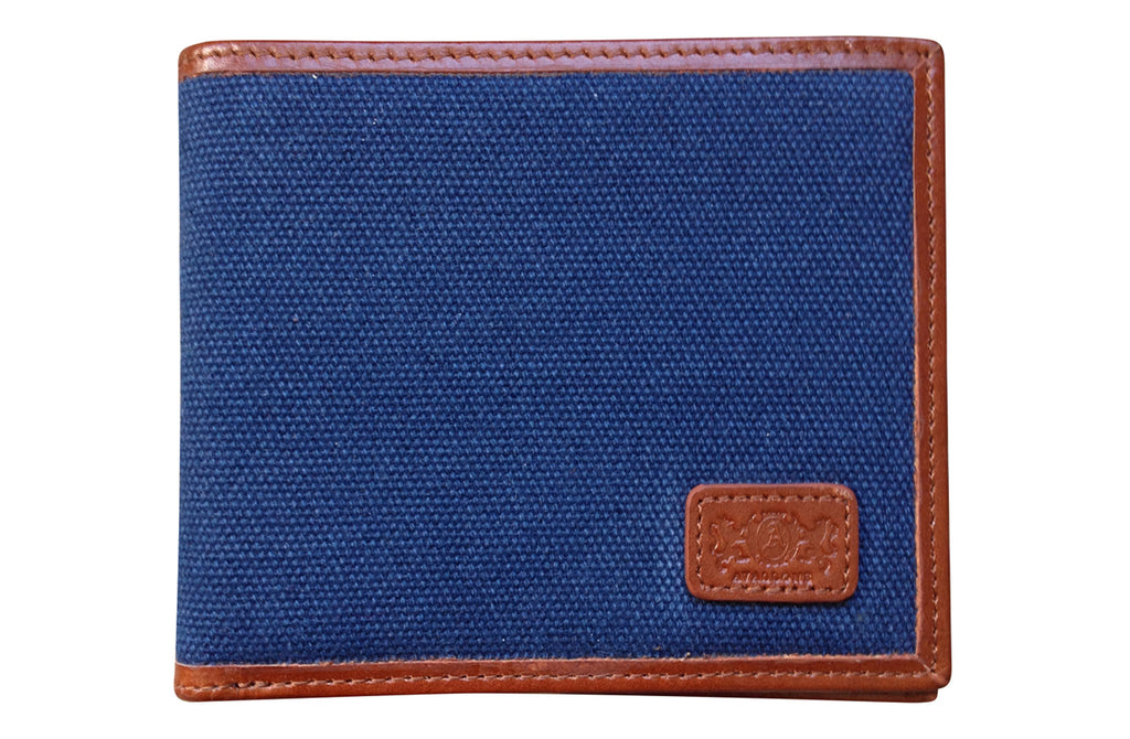 Men's Canvas & Leather Bi-Fold RFID Wallet - Navy Blue - Avallone - 1