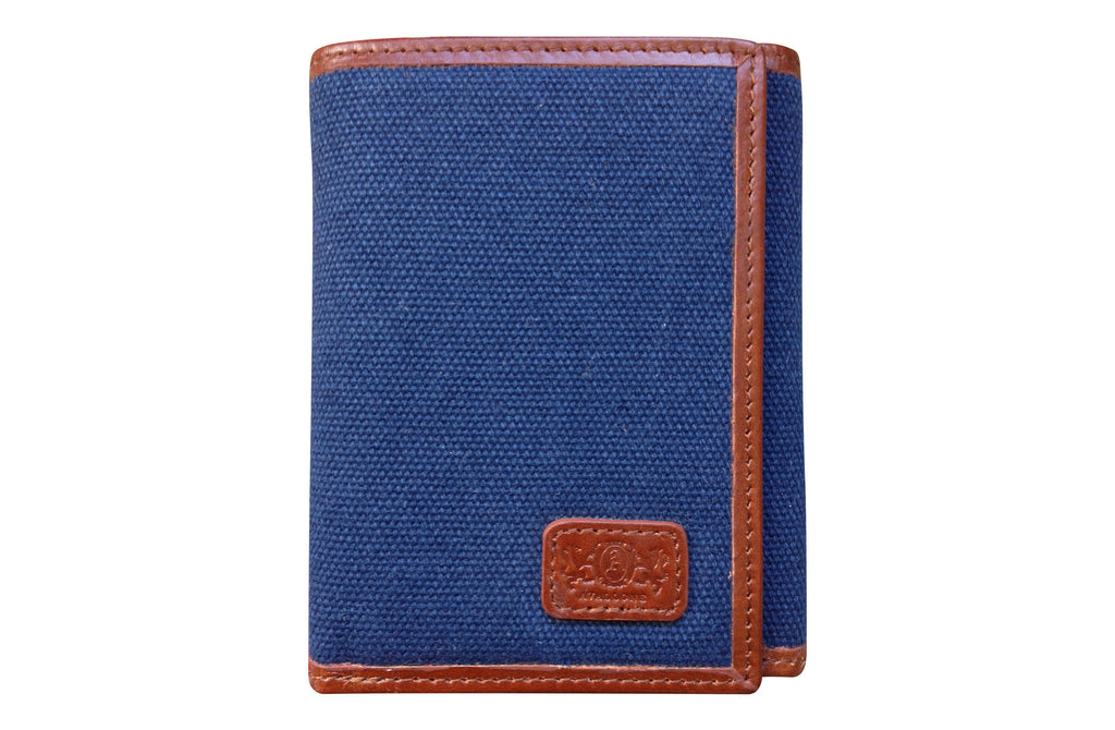 Men's Canvas & Leather Tri-Fold RFID Wallet - Navy Blue - Avallone - 1