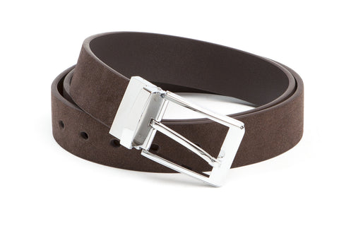 Executive Reversible Suede & Leather Belt - Brown