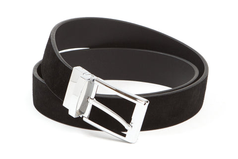 Executive Reversible Suede & Leather Belt - Black