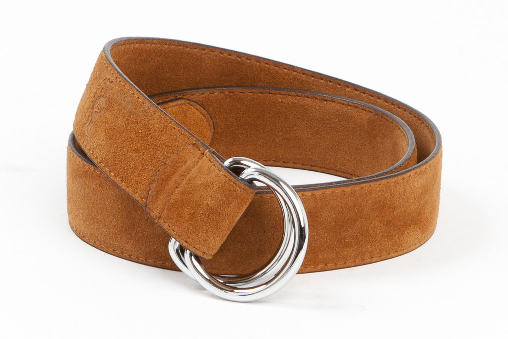 Executive Luxury D-Ring Suede Belt - Tan - Avallone - 1