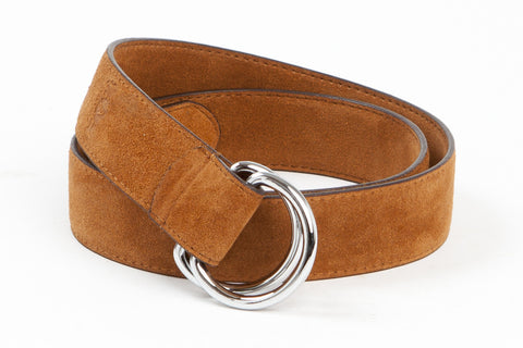 Executive Luxury D-Ring Suede Belt - Tan