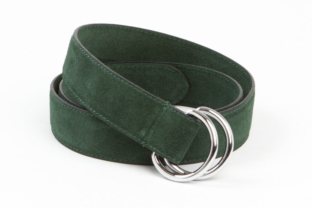Executive Luxury D-Ring Suede Belt - Forest Green - Avallone - 1