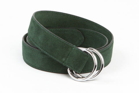 Executive Luxury D-Ring Suede Belt - Forest Green