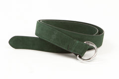 Executive Luxury D-Ring Suede Belt - Forest Green - Avallone - 2
