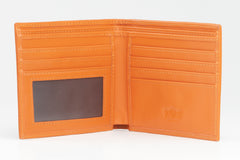 Italian Classic Bi-fold Mens Leather Wallet - Orange - Avallone - 2