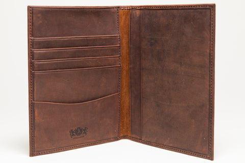 Antique Passport Holder Leather Wallet - Light Brown