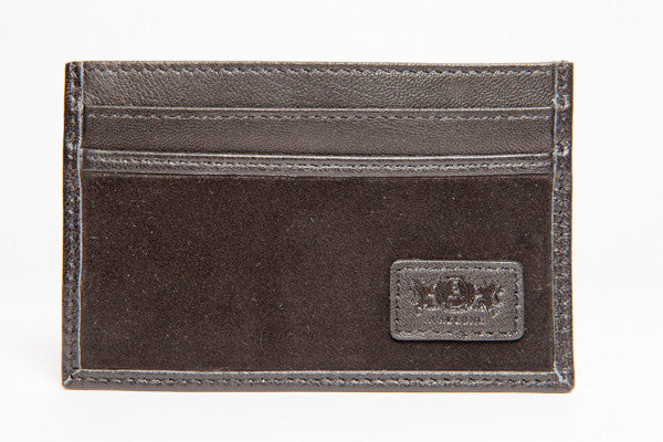 Slim Credit Card Leather Wallet - Black - Avallone - 1