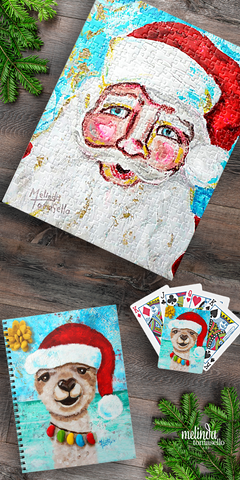 Holiday Jigsaw Puzzles Playing Cards and Notebook by Melinda Tomasello Art Zazzlei