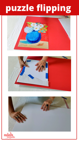 DIY gluing art puzzles puzzle flipping