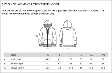 Womens fitted zipper hoodie size guide