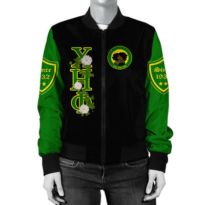 Africa Zone Jacket - Chi Eta Phi White Chrysanthemum Bomber Jacket J09