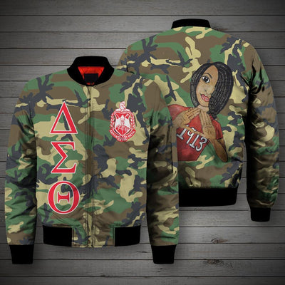 3D ALL OVER DELTA SIGMA THETA CAMO BOMBER JACKET