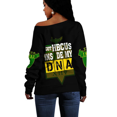 Africa Zone Sweater - Chi Eta Phi HBCU DNA Offshoulder J09