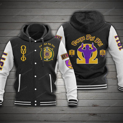 OMEGA PSI PHI HOODED BASEBALL JACKET 131120202