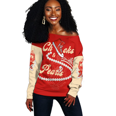 Africa Zone Sweatshirt - Delta Sigma Theta Chucks And Pearls Offshoulder K.H Pearls J09