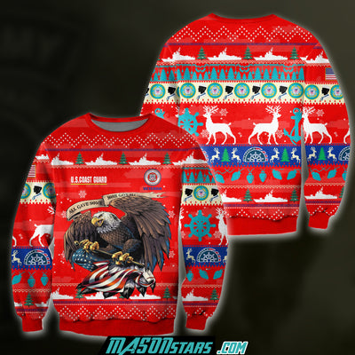 3D ALL OVER PRINT US COAST GUARD VETERAN UGLY SWEATER