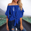 ZETA PHI BETA TIE KNOT OFF SHOULDER SHIRT