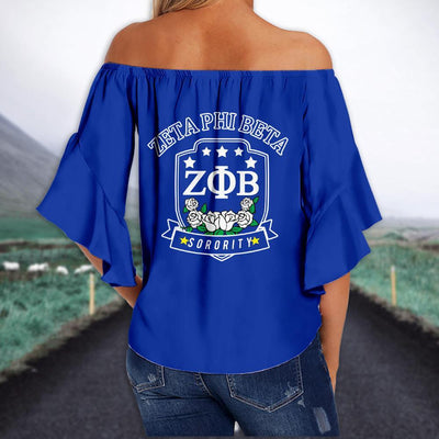 ZETA PHI BETA TIE KNOT OFF SHOULDER SHIRT 2
