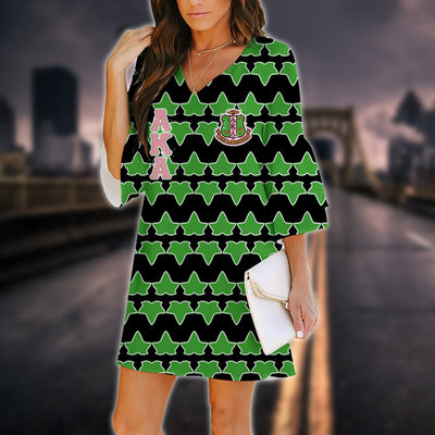 Alpha Kappa Alpha 3D Printed V-neck Dress 18