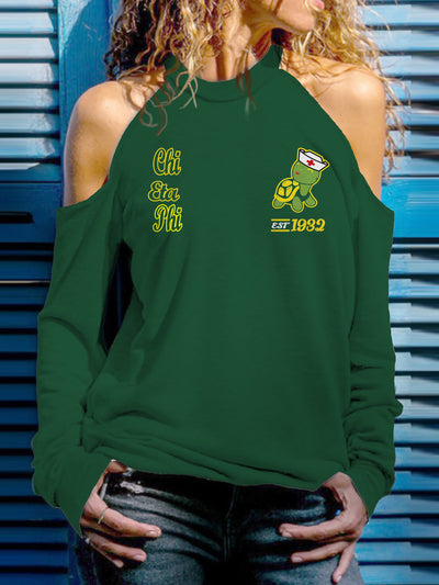 Chi Eta Phi Strapless Off Shoulder Sweatshirt