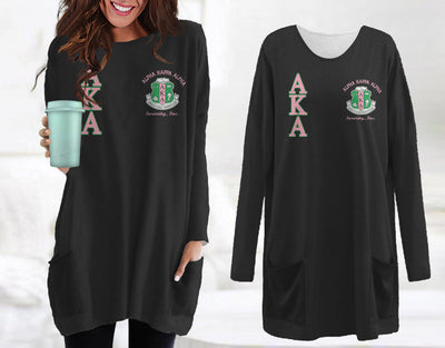 Alpha Kappa Alpha Loose Long pattern Women Pocket Blouse