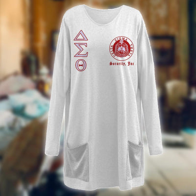 Delta Sigma Theta Loose Long Pattern Women Pocket Blouse 161120201