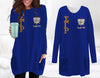 Sigma Gamma Rho Loose Long Pattern Women Pocket Blouse
