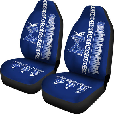 Africa Zone Car Seat Cover\bs - Blue Phi Beta Sigma (Set of 2) J09
