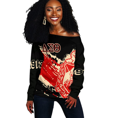 Africa Zone Sweater - Delta Sigma Theta Offshoulder - Tip Style - J4