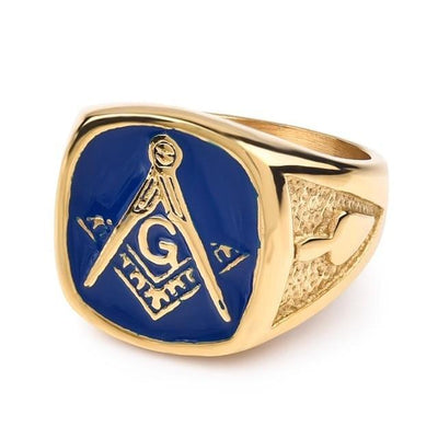 Vintage Blue y Gold Color Stainless Steel Masonic Rings