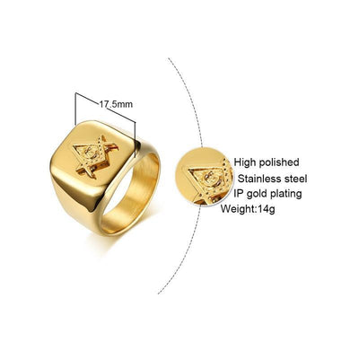 Vnox Gold Tone Freemason Rings