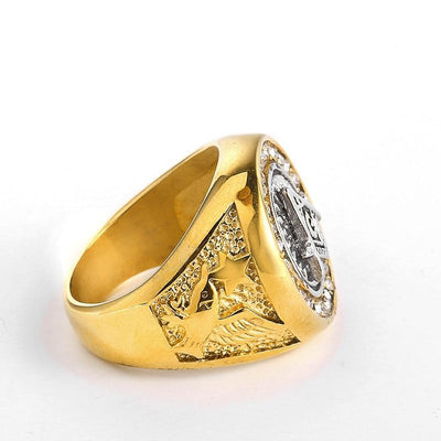Silver&Gold color Square Freemasonry Masonic Ring