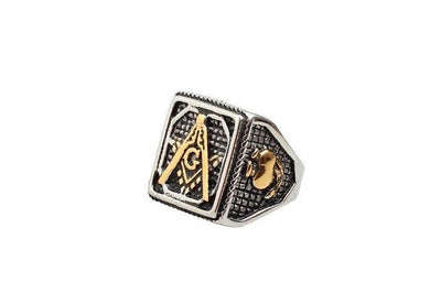 Silver Gold Men's Square Freemason Ring