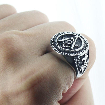 Vintage Stainless Steel Freemason Ring